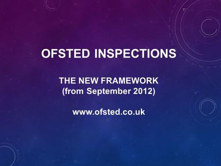 OFSTED INSPECTIONS THE NEW FRAMEWORK (from September 2012) www.ofsted.co.uk.