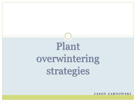 JASON ZARNOWSKI Plant overwintering strategies. Over-wintering Success Plants, not just animals, have adapted for success in cold climates. As with many.