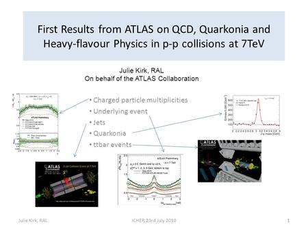 First Results from ATLAS on QCD, Quarkonia and Heavy-flavour Physics in p-p collisions at 7TeV Charged particle multiplicities Underlying event Jets Quarkonia.
