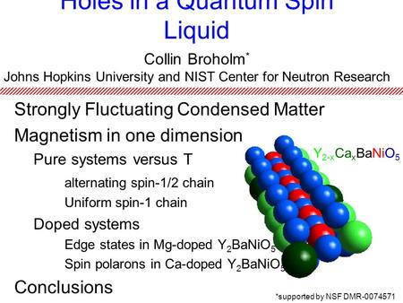 Holes in a Quantum Spin Liquid Collin Broholm * Johns Hopkins University and NIST Center for Neutron Research Y 2-x Ca x BaNiO 5 *supported by NSF DMR-0074571.