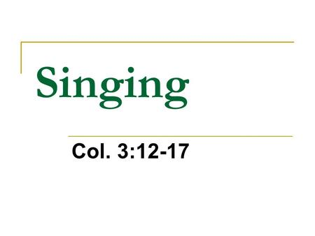 Singing Col. 3:12-17. What does the Bible say about N.T.Singing? We are Participants…not Spectators!