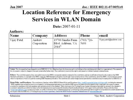 Doc.: IEEE 802.11-07/0051r0 Submission Jan 2007 Vijay Patel, Andrew CorporationSlide 1 Location Reference for Emergency Services in WLAN Domain Notice: