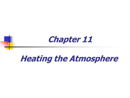 Chapter 11 Heating the Atmosphere. Weather versus Climate  Weather  Atmospheric conditions over a short period of time  Constantly changing  Climate.