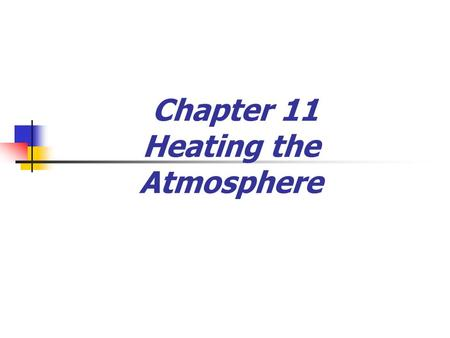 Chapter 11 Heating the Atmosphere. Weather and Climate  Weather  Weather is over a short period of time  Constantly changing  Climate  Climate is.