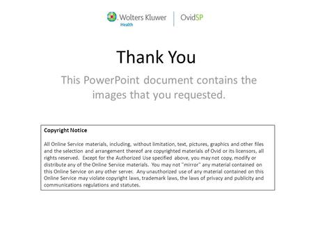 Thank You This PowerPoint document contains the images that you requested. Copyright Notice All Online Service materials, including, without limitation,