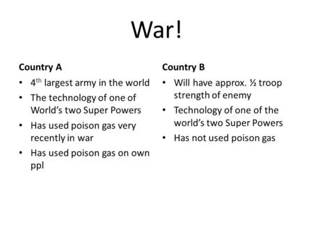War! Country A 4 th largest army in the world The technology of one of World's two Super Powers Has used poison gas very recently in war Has used poison.