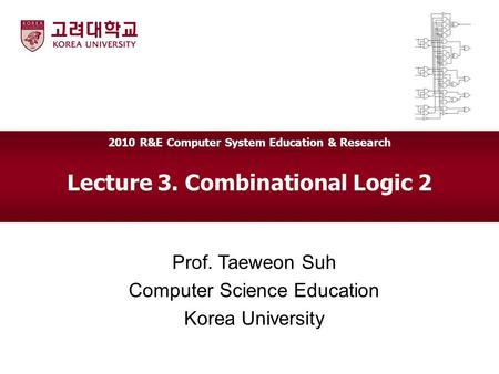 Lecture 3. Combinational Logic 2 Prof. Taeweon Suh Computer Science Education Korea University 2010 R&E Computer System Education & Research.