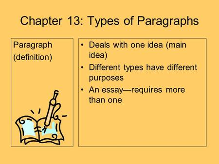 different types of paragraphs in an essay This is an open course on writing academic essays in english it starts with a lesson on the the different types of essays then you'll learn how to write.