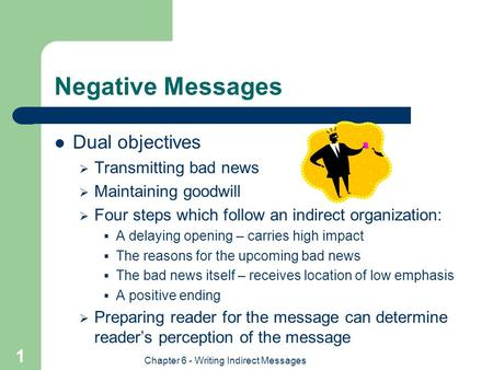 Chapter 6 - Writing Indirect Messages 1 Negative Messages Dual objectives  Transmitting bad news  Maintaining goodwill  Four steps which follow an indirect.