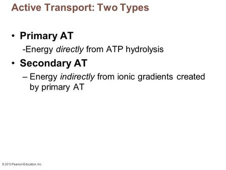 Active Transport: Two Types