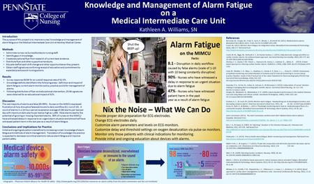 Knowledge and Management of Alarm Fatigue on a Medical Intermediate Care Unit Kathleen A. Williams, SN Introduction The purpose of this project is to improve.