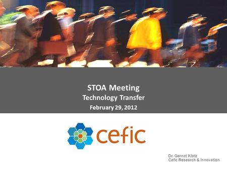 STOA Meeting Technology Transfer February 29, 2012 Dr. Gernot Klotz Cefic Research & Innovation.