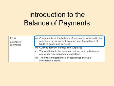 Introduction to the Balance of Payments