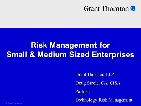 Risk Management for Small & Medium Sized Enterprises