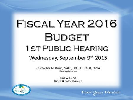 Christopher M. Quinn, MACC, CPA, CFE, CGFO, CGMA Finance Director Lina Williams Budget & Financial Analyst Wednesday, September 9 th 2015.