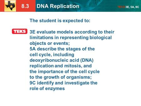 8.3 DNA Replication TEKS 3E, 5A, 9C The student is expected to: 3E evaluate models according to their limitations in representing biological objects or.