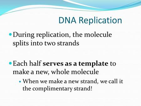 DNA Replication During replication, the molecule splits into two strands Each half serves as a template to make a new, whole molecule When we make a new.