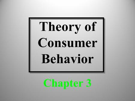 Theory of Consumer Behavior Chapter 3. Discussion Topics Utility theory Indifference curves The budget constraint 2.