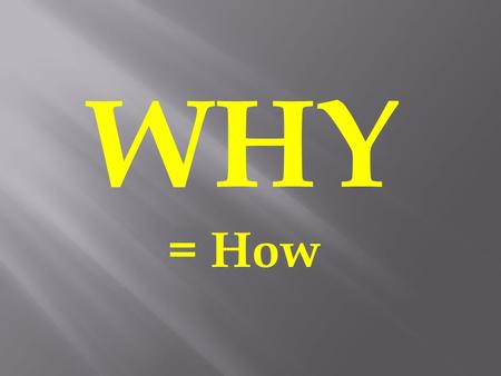 WHY = How. 1.You take control of an aspect in your life: HOW? Why Set Goals?