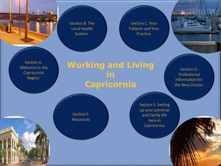 Working and Living in Capricornia Section A. Welcome to the Capricornia Region. Section F. Resources Section E. Setting up your personal and family life.