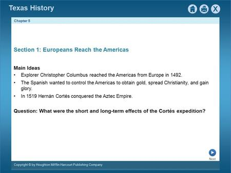 Section 1: Europeans Reach the Americas