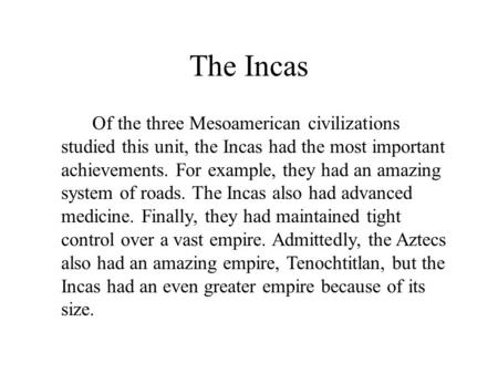 a history of the inca empire and its importance