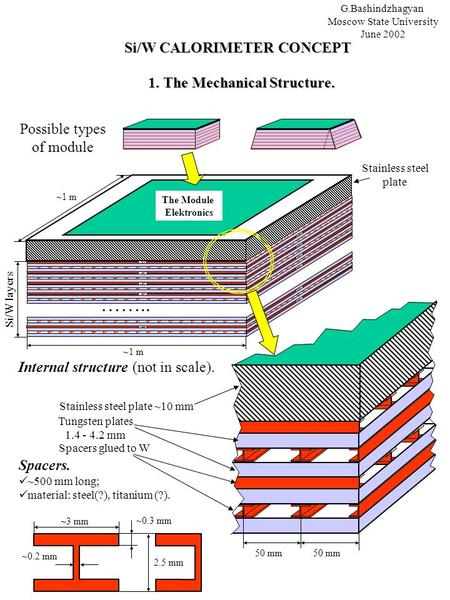 Possible types of module Si/W CALORIMETER CONCEPT Si/W CALORIMETER CONCEPT G.Bashindzhagyan Moscow State University June 2002 Internal structure (not in.