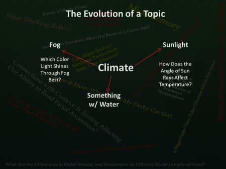 The Evolution of a Topic Climate Fog Which Color Light Shines Through Fog Best? Something w/ Water Sunlight How Does the Angle of Sun Rays Affect Temperature?
