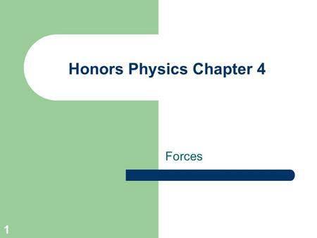Honors Physics Chapter 4