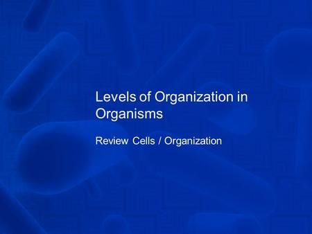 Levels of Organization in Organisms Review Cells / Organization.