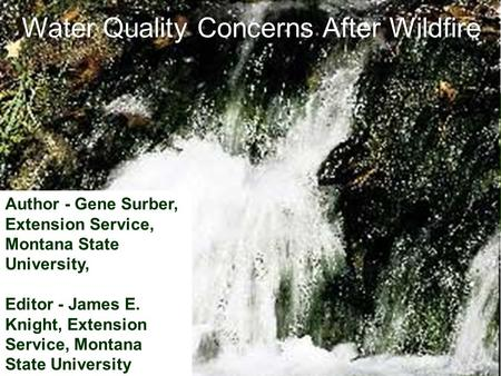Water Quality Concerns After Wildfire Author - Gene Surber, Extension Service, Montana State University, Editor - James E. Knight, Extension Service, Montana.