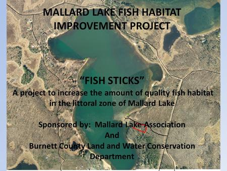 "MALLARD LAKE FISH HABITAT IMPROVEMENT PROJECT ""FISH STICKS"" A project to increase the amount of quality fish habitat in the littoral zone of Mallard Lake."