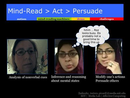 Challengesdemomind-reading machinesautism {kaliouby, teeters, MIT | Media Lab | Affective Computing Mind-Read > Act > Persuade hmm.