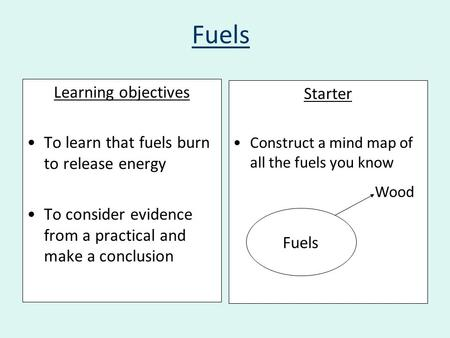 Fuels Learning objectives To learn that fuels burn to release energy To consider evidence from a practical and make a conclusion Starter Construct a mind.