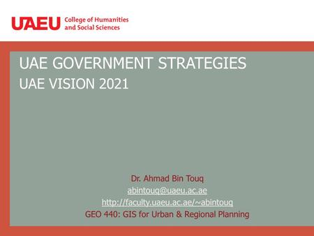 UAE GOVERNMENT STRATEGIES UAE VISION 2021. UAE GOVERNMENT STRATEGIES 2011-2013.