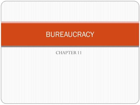 CHAPTER 11 BUREAUCRACY. What is a Bureaucracy? Non-elected government officials who perform the day to day functions of government. Technically falls.