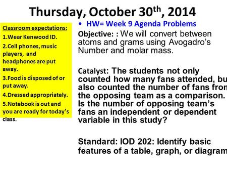 Thursday, October 30 th, 2014 HW= Week 9 Agenda Problems Objective: : We will convert between atoms and grams using Avogadro's Number and molar mass. Catalyst.