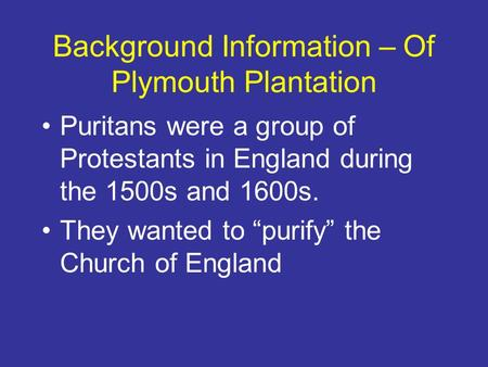 Of Plymouth Plantation Essay