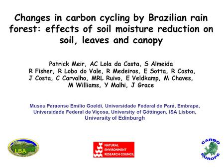 Changes in carbon cycling by Brazilian rain forest: effects of soil moisture reduction on soil, leaves and canopy Patrick Meir, AC Lola da Costa, S Almeida.