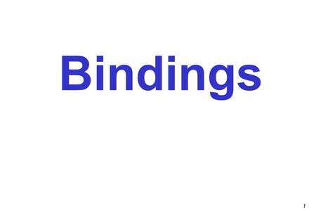 1 Bindings. 2 Outline Preliminaries Scope  Block structure  Visibility Static vs. dynamic binding Declarations and definitions More about blocks The.