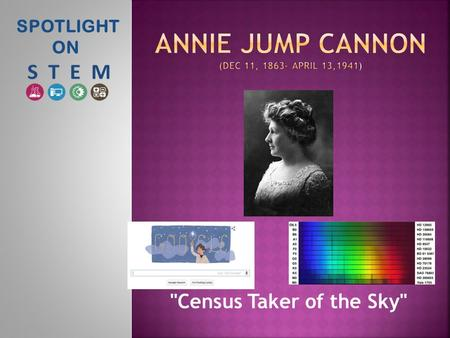 SPOTLIGHT ON Census Taker of the Sky.  She was born in Dover, Delaware. Her father, Wilson Cannon, was a Delaware shipbuilder and state senator. 