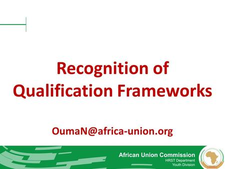 Recognition of Qualification Frameworks