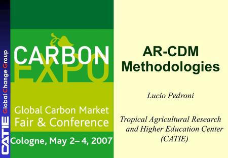 Global Change Group AR-CDM Methodologies Lucio Pedroni Tropical Agricultural Research and Higher Education Center (CATIE)