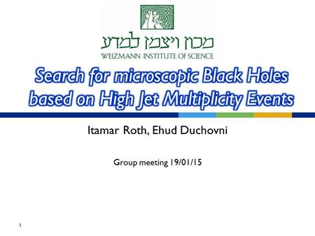 Itamar Roth, Ehud Duchovni Group meeting 19/01/15 1.
