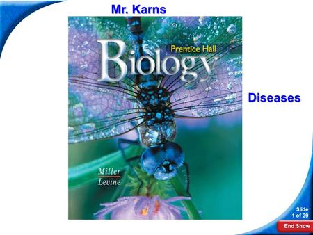 End Show Slide 1 of 29 Biology Mr. Karns Diseases.