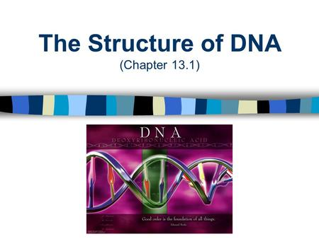 "The Structure of DNA (Chapter 13.1). DNA: The Genetic Material Genes are made up of small segments of deoxyribonucleic acid or ""DNA"" DNA is the primary."