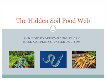 AND HOW UNDERSTANDING IT CAN MAKE GARDENING EASIER FOR YOU The Hidden Soil Food Web.