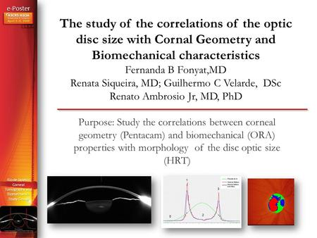 E-Poster Rio de Janeiro Corneal Tomography and Biomechanics Study Group The study of the correlations of the optic disc size with Cornal Geometry and Biomechanical.