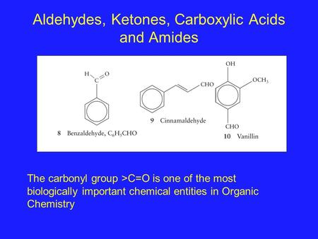 Aldehydes, Ketones, Carboxylic Acids and Amides The carbonyl group >C=O is one of the most biologically important chemical entities in Organic Chemistry.