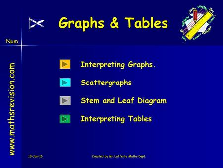 Num 18-Jan-16Created by Mr. Lafferty Maths Dept. Graphs & Tables www.mathsrevision.com Interpreting Graphs. Stem and Leaf Diagram Interpreting Tables Scattergraphs.